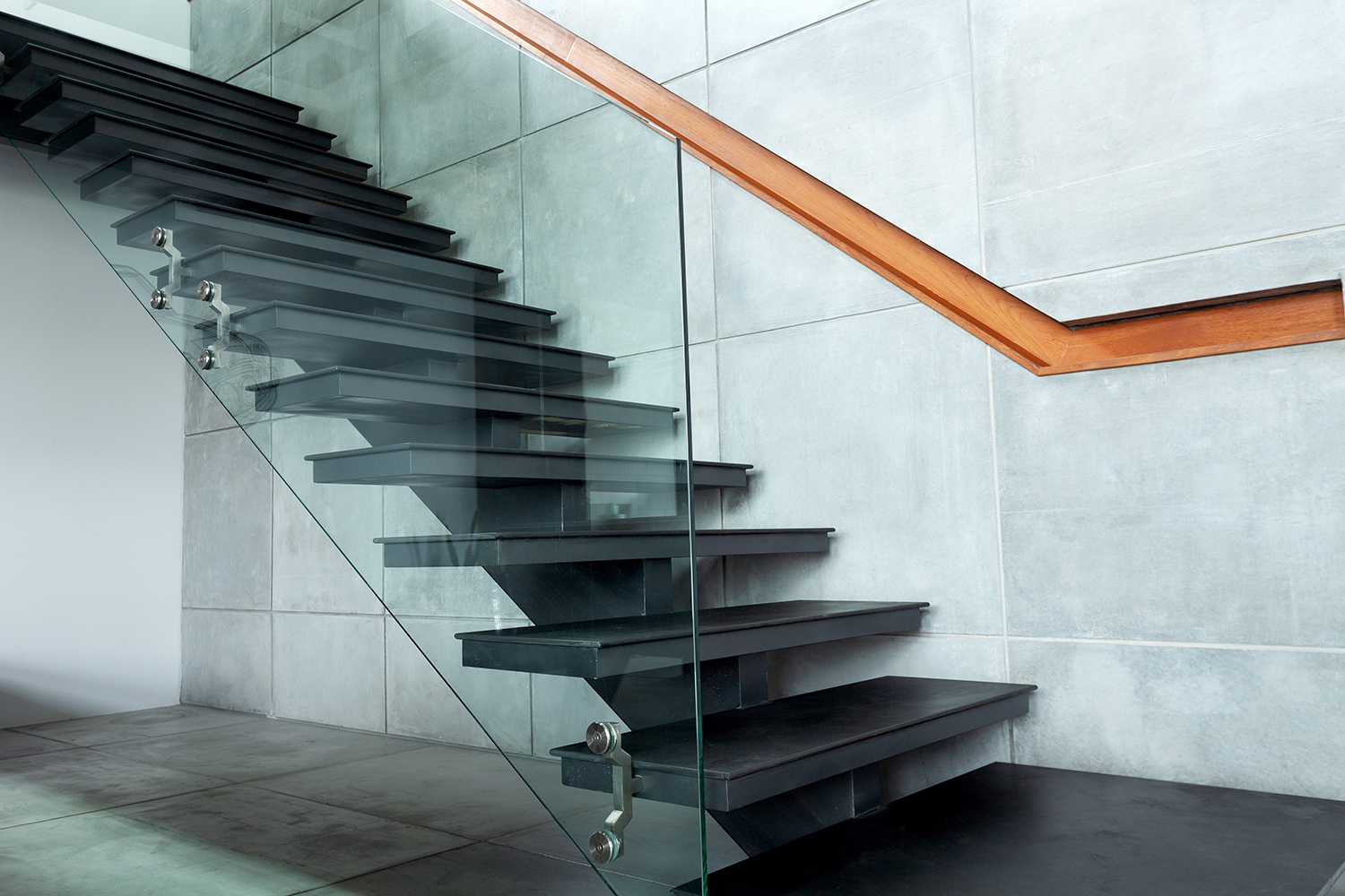 staircase in modern villa and cement wall