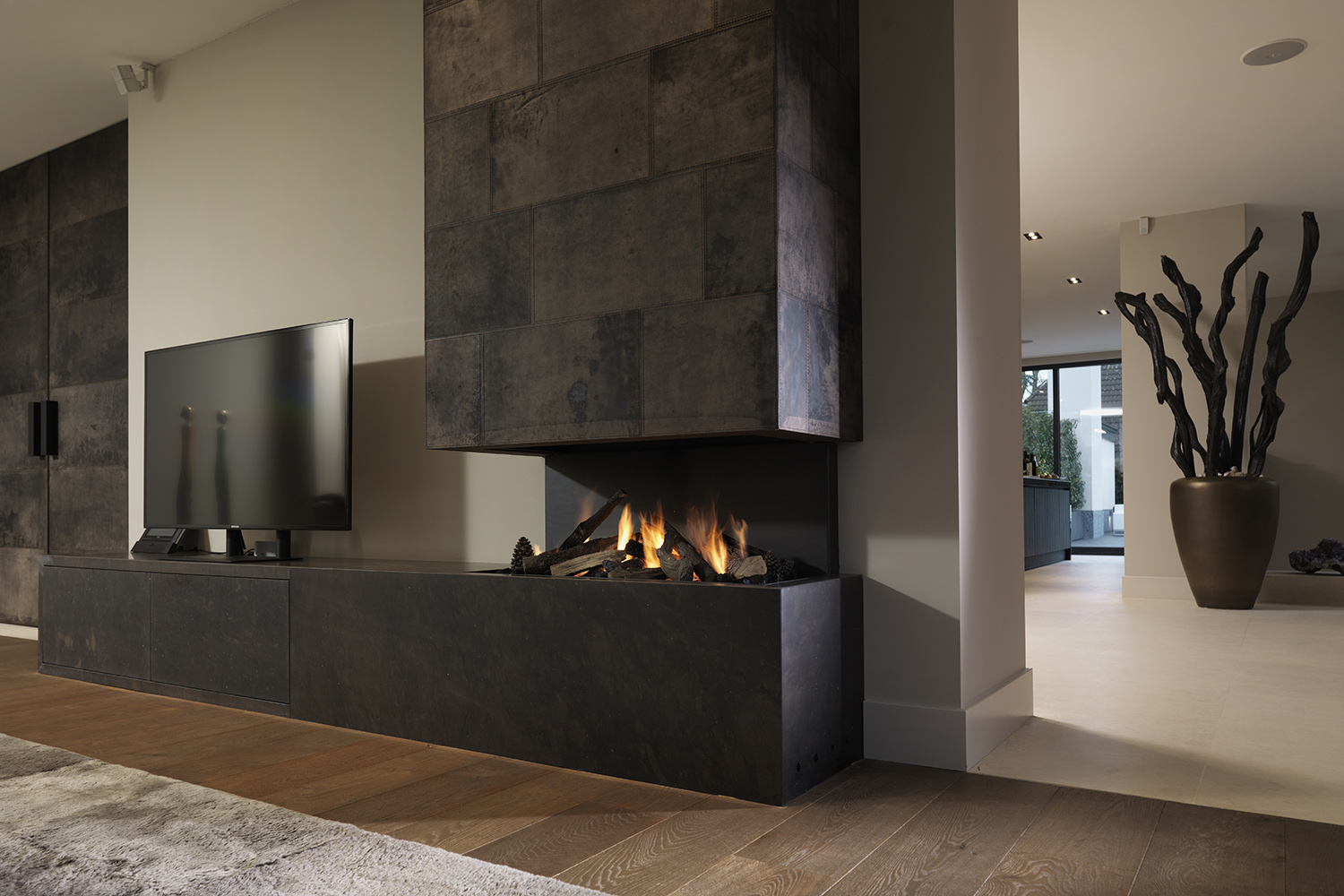 modern living room interior with fireplace